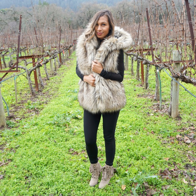 St. Helena, Duckhorn, Engagement trip, romantic trip, Harvest Inn, Rombauer, Chardonnay, Goose and Gander, Archetype, Napa Valley trip, what to do in Napa Valley, best wineries in St. Helena, 24 hours in St. Helena, best restaurants in St. Helena, Aritiza vest, faux fur vest, fringe booties