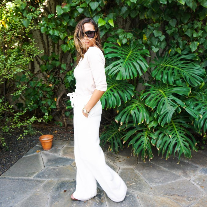 Topshop top, off the shoulder top, off the shoulder sweater, high waist pants, wide leg pants, high waist white pants, platform sandals, west hollywood, karen walker sunglasses, karen walker deep worship, craig's beverly hills, beverly hills, rodeo drive, movado watch, birthday outfit, valentine's day outfit, what to wear in LA, what to wear in beverly hills