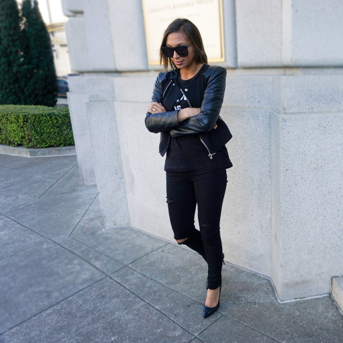Karl is my father, ripped black jeans. leather moto jacket, all black everything, paige ripped jeans, paige jeans, bcbg pumps, perforated pumps, Karen walker sunglasses, war memorial, vast aspiration, alex haygood style, outfit inspiration, what to wear in san francisco, san francisco outfits