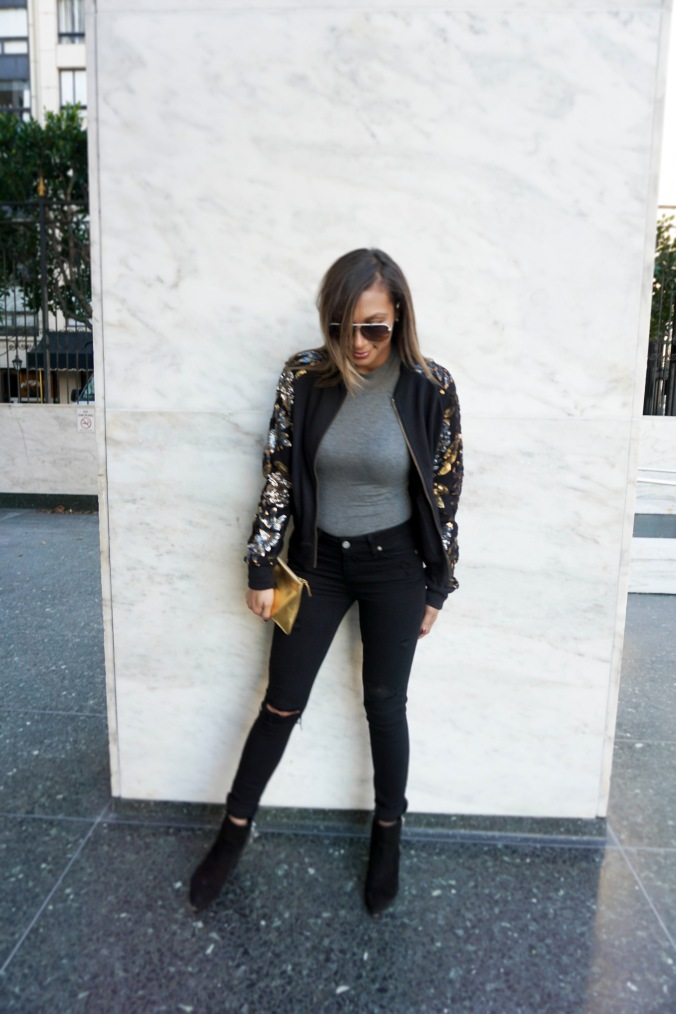 Staple pieces, staple outfit, layering pieces, bodysuit, body suit, bodysuit nordstrom, Paige denim, ripped jeans, ripped black jeans, gold pouch, gold clutch, comme des garcons, statement jacket, embellished jacket, dior sunglasses, dior aviators, black booties, san francisco outfit, san francisco day to night, forever 21 jacket, forever 21