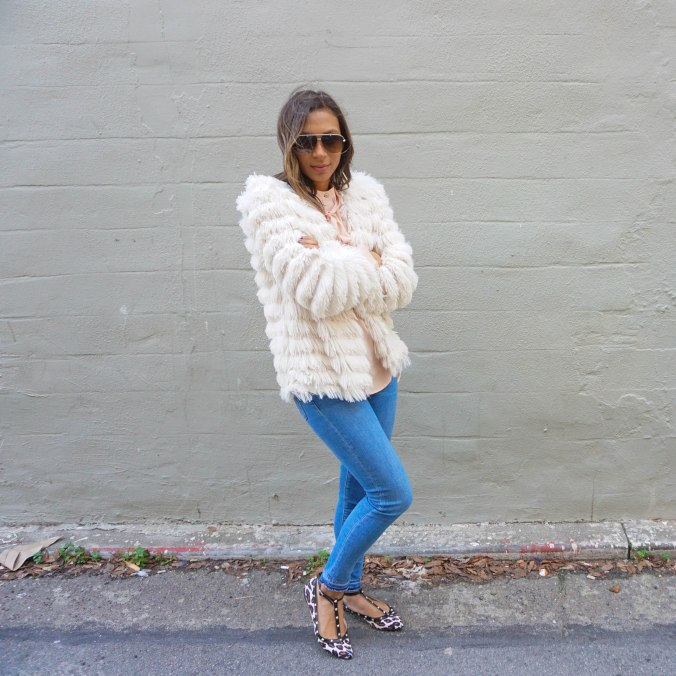Pink, leopard, leopard is a neutral, fluffy jacket, furry jacket, tie neck top, cross body bag, envelope clutch, dior aviators, leopard flats, valentino flats, spring outfits, spring outfit inspiration, spring mood board