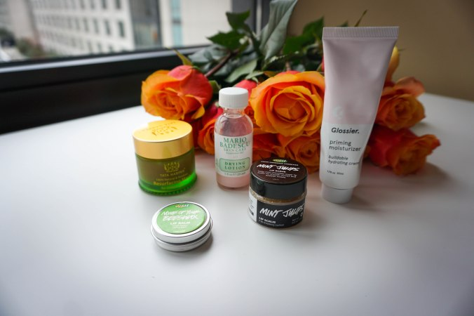 Skincare, skincare routine, tata harper resurfacing mask, mario badescu drying lotion, acne spot treatment, zit zapper, overnight acne spot treatment, glossier moisturizer, lush lip scrub, mint julep mint scrub, lush lip balm, top skincare tips, skincare and beauty tips, beauty 101, kylie jenner beauty tips, kylie jenner beauty routine