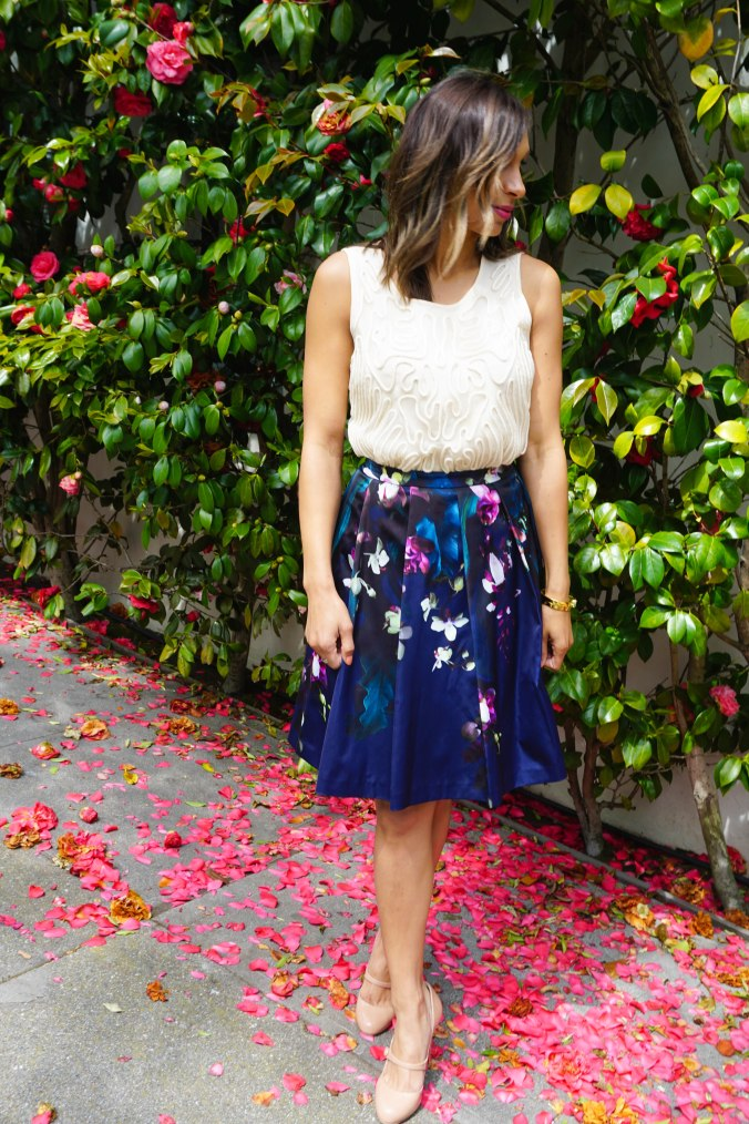 Ted Baker Skirt, Ann Taylor top, textured top, floral skirt, christian louboutin heels, christian louboutin mary janes, kate spade bracelet, pacific heights, pacific heights outfit, san francisco outfit, spring outfit, green peacoat, kate middleton, kate middleton outfit, outfit inspiration, what to wear, what to wear in san francisco, look book, san francisco look book, san francisco style, california style